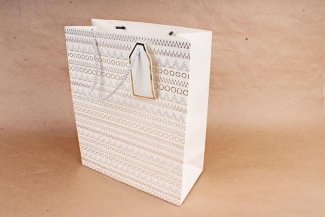 Cумка Люкс Золотой узор белая    (12 шт/уп) Цена за 1шт  L670
