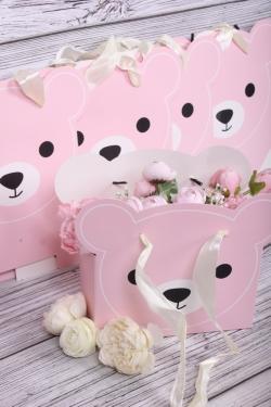 Cумка-кашпо Мишки (набор из 5шт) розовые  22*10*18см  L737
