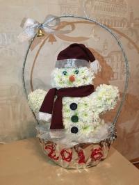 Цветик - Снеговик (игрушки из живых цветов)