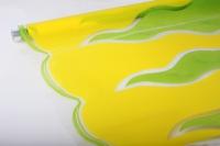 Цветочная пленка - Рулон 0,7 Пламя - салатовый/желтый
