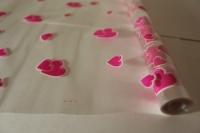 Цветочная плёнка - Рулон 0.7 Сердца - Розово-белый