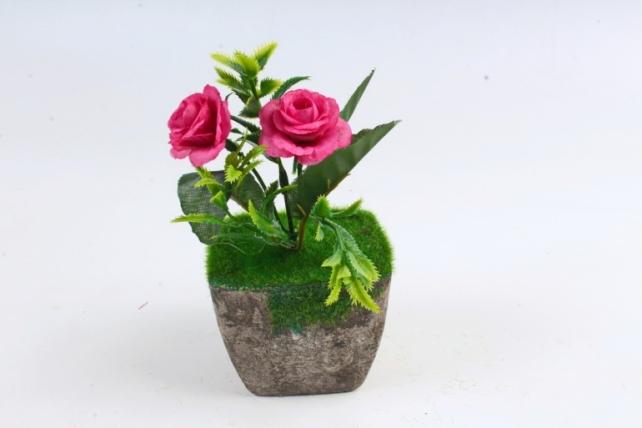 Цветочный  горшочек со мхом  серый Э10737