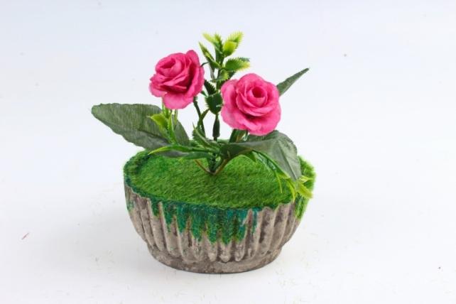 Цветочный  горшочек со мхом   серый Э10742