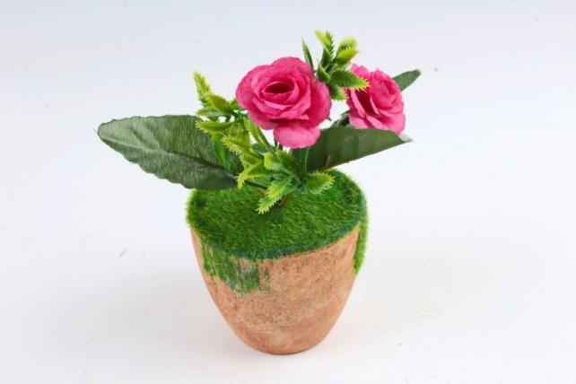 Цветочный  горшочек со мхом   терракотовый Э10736
