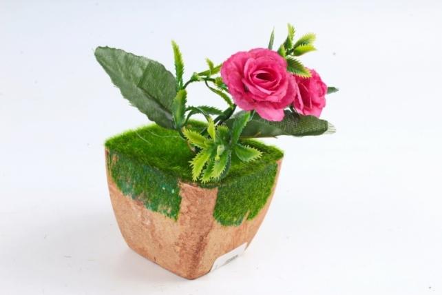 Цветочный  горшочек со мхом   терракотовый Э10737
