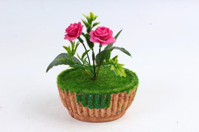 Цветочный  горшочек со мхом  терракотовый Э10742
