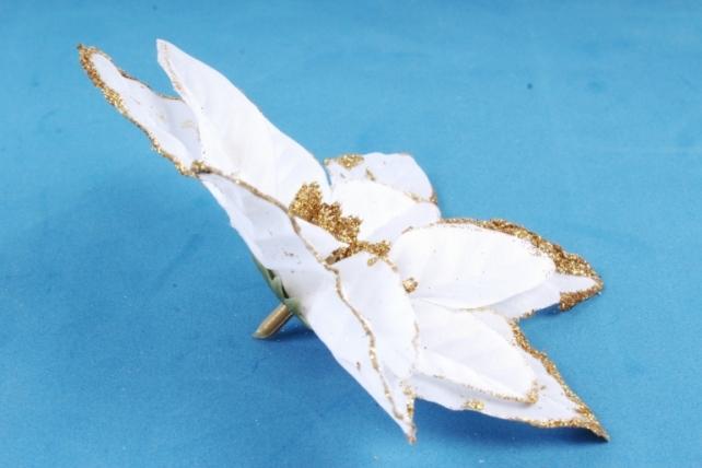 Цветок Пуансеттии белый с золотом 402