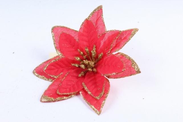 Цветок Пуансеттии красный с золотом 402
