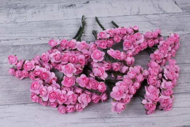 Цветы бумажные 1см Розовые (144шт в уп) HT16A001