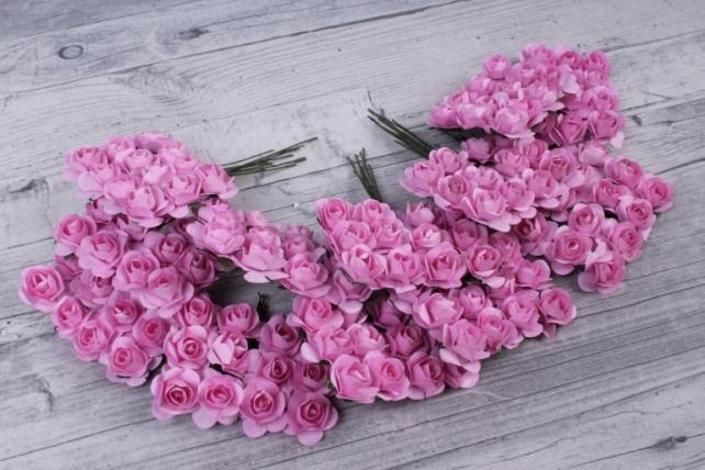 Цветы бумажные 2 см розовые (144шт в уп) HT2017А090