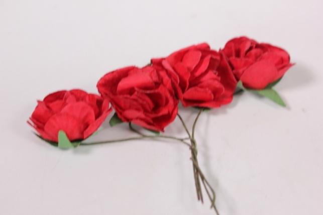 Цветы бумажные 3см Красные (20шт в уп) CF10-L452