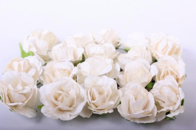 Цветы бумажные 3см Кремовые (20шт в уп) CF10-L452