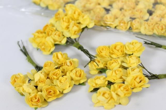 Цветы бумажные Желтые h=10 (144шт в уп) - Код 7882