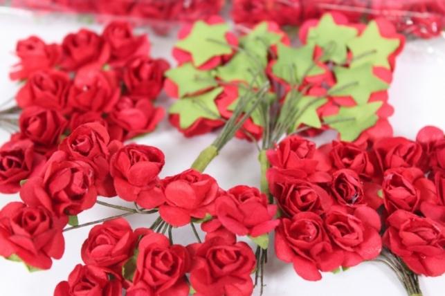 цветы бумажные красные (144шт в уп)  7905