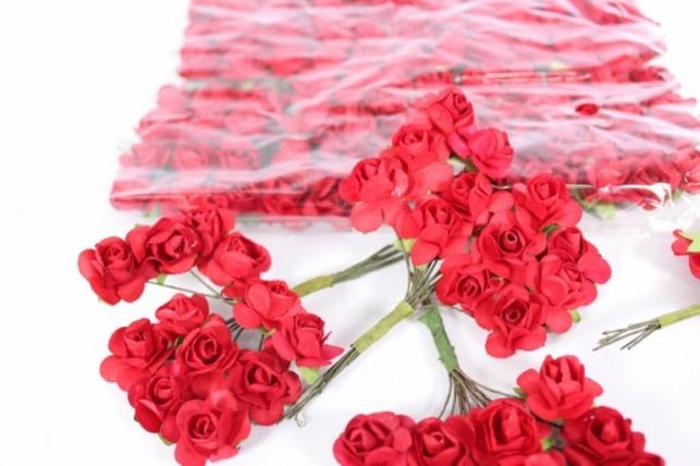 Цветы бумажные Красные h=10 (144шт в уп)  7905