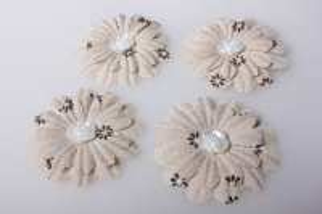 Цветы тканевые крупные лён 7,5см (4 шт в уп) 3707