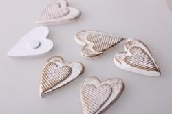 Декор своими руками - Украшение подарков на Новый Год 2014 - 4158 Липучка Сердца вытянутые белые-золото (12шт в уп)