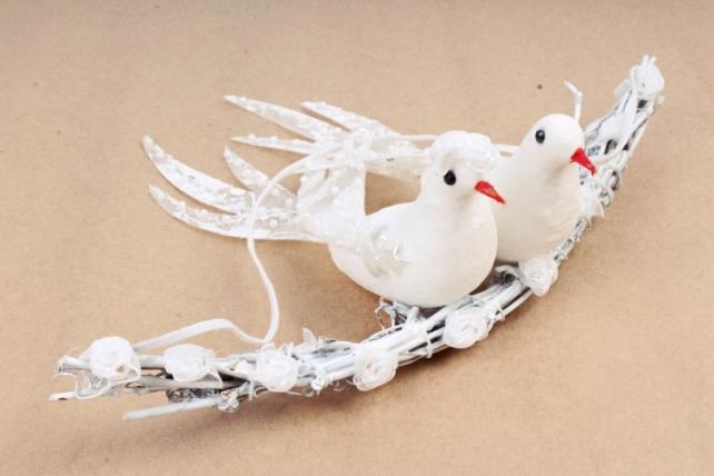 Декорация голуби на палочке 19*23см (1шт)  4306