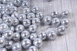 Декорация шар серебро из пенопласта 1,5см (20гр)   5198  KBG022