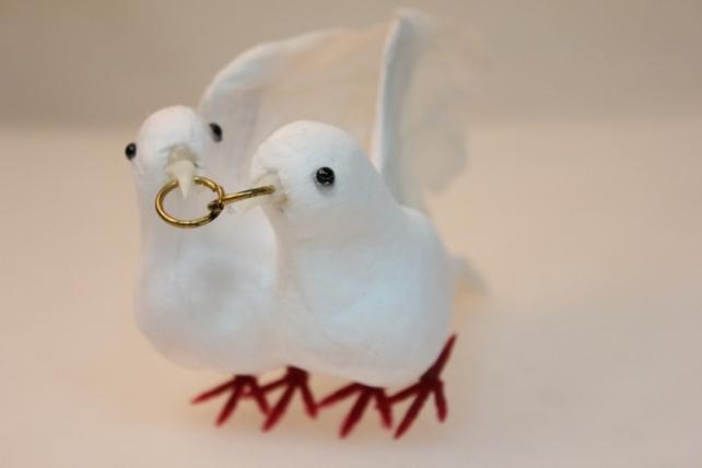 Декоративная искусственная флористическая - 0663 Птичка Пара голубей больших свадебных (1пара)
