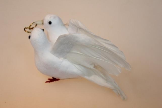 бабочки и птички декоративная искусственная флористическая - 0663 птичка пара голубей больших свадебных (1пара) 7119