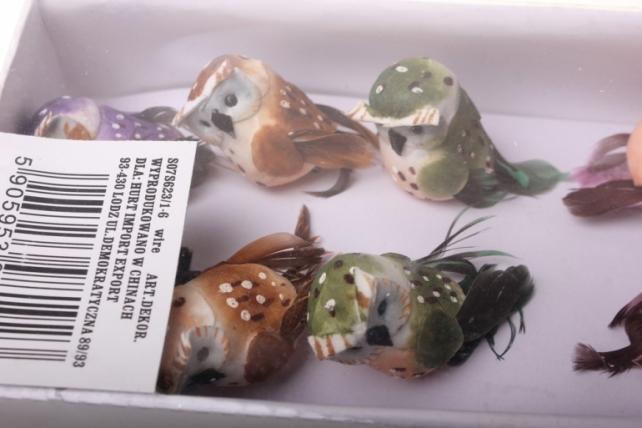 бабочки и птички декоративная искусственная флористическая - 1923 птичка сова на стикере (12 шт в уп) 2440