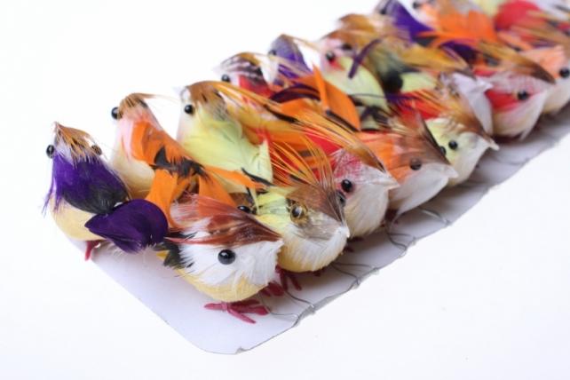 Декоративная искусственная флористическая - 1960 Птичка Малая на стикере (24шт в уп)