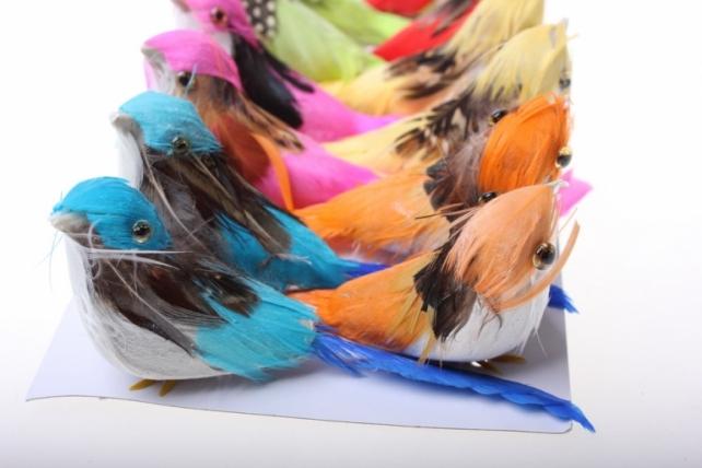 Декоративная искусственная флористическая - 3772 Птичка малиновка на прищепке (12шт в уп)