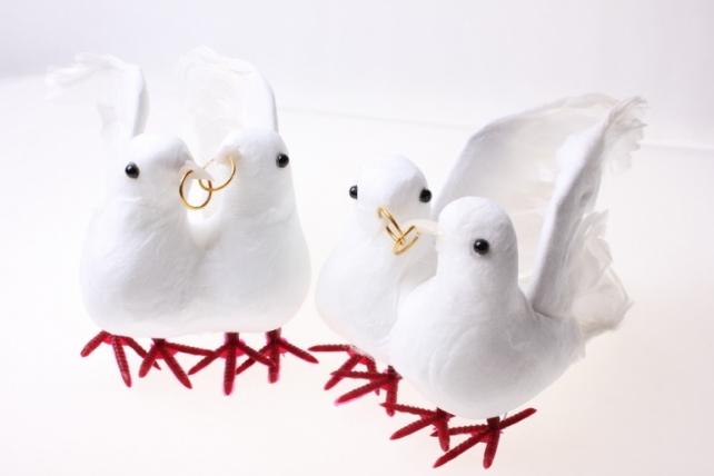Декоративная искусственная флористическая - 3819 Птичка Пара голубей больших свадебных (6 пар)
