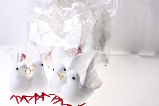 бабочки и птички декоративная искусственная флористическая - 3819 птичка пара голубей больших свадебных (6 пар) 2515