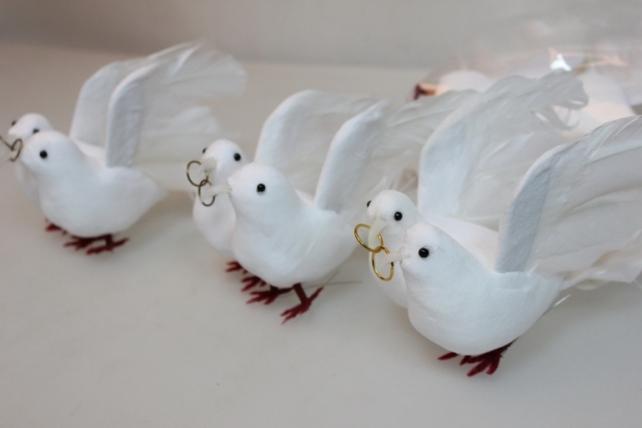 Декоративная искусственная флористическая - 3826 Птичка Пара голубей больших свадебных (6 пар)