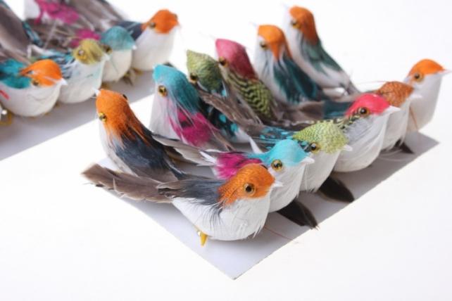 Декоративная искусственная флористическая - 3871 Птичка цветная на стикере (24шт в уп)