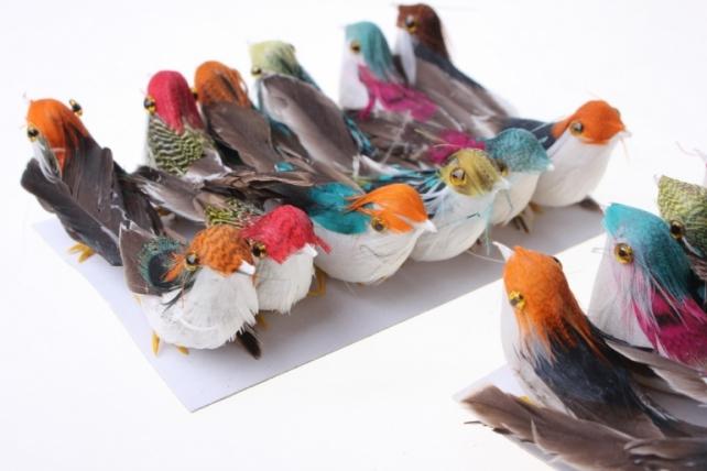 бабочки и птички декоративная искусственная флористическая - 3871 птичка цветная на стикере (24шт в уп) 3012