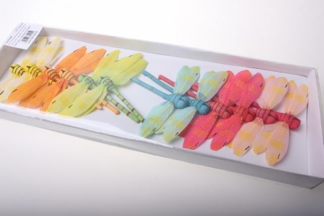 бабочки и птички декоративная искусственная флористическая - 4259 стрекоза цветная большая (12 шт в уп) 2211