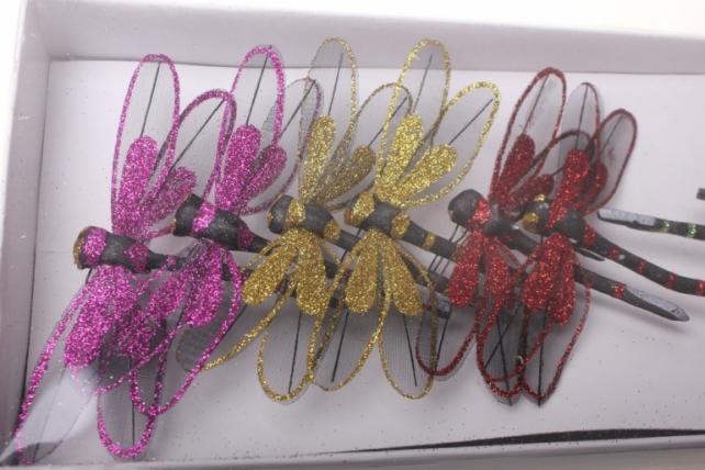 Декоративная искусственная флористическая - 4266 Стрекоза цветная с блестками  (12 шт в уп)