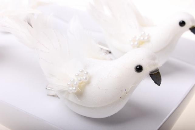 бабочки и птички декоративная искусственная флористическая - 5158 птичка голуби с бусиной цветок на прищепке (4шт в уп) 45158