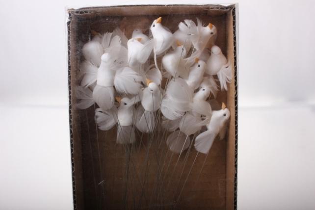 бабочки и птички декоративная искусственная флористическая - 5224 птичка голуби с блестками на стикере (36шт в уп) 2443