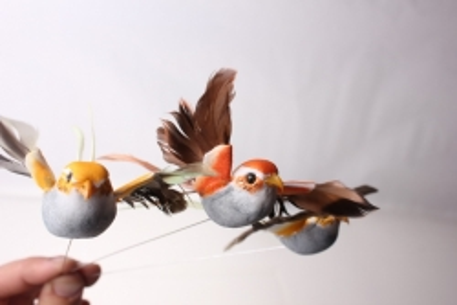 бабочки и птички декоративная искусственная флористическая - 5264 птичка коллибри на стикере (12шт в уп) 3015