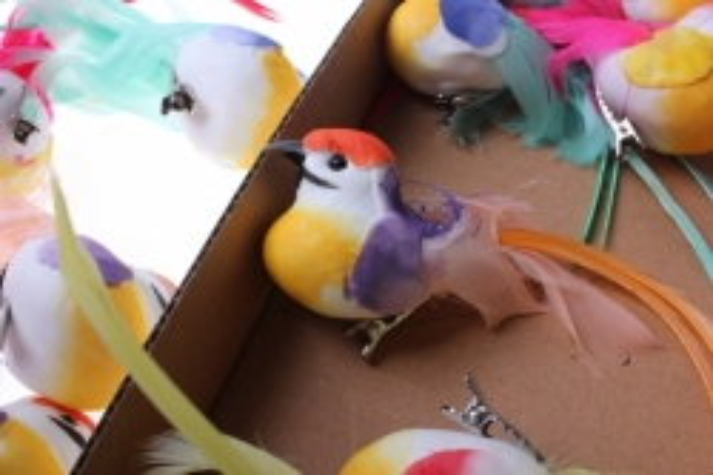 Декоративная искусственная флористическая - 5332 Птичка Радужная на прищепке (12шт в уп)