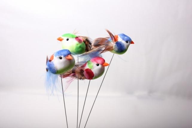 Декоративная искусственная флористическая - 5875 Птичка круглая на стикере (36шт в уп)