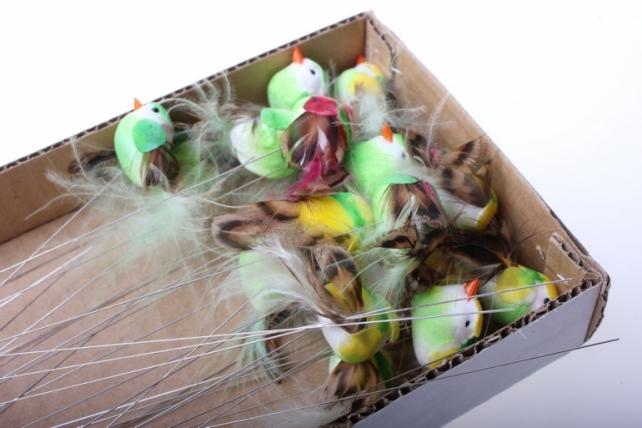 бабочки и птички декоративная искусственная флористическая - 5875 птичка круглая на стикере (36шт в уп) 2484