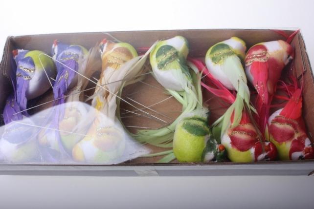 Декоративная искусственная флористическая - 5936 Птичка Круглая с блестками на стикере (12 шт в уп)