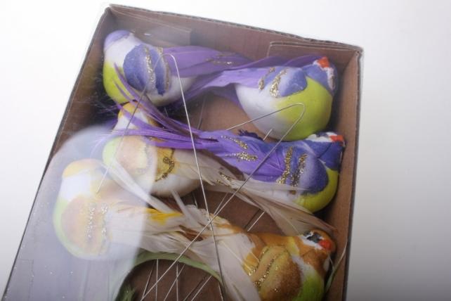бабочки и птички декоративная искусственная флористическая - 5936 птичка круглая с блестками на стикере (12 шт в уп) 2392