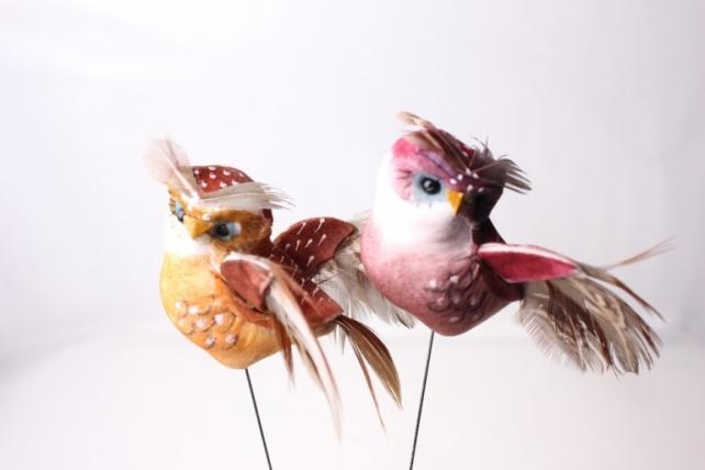 Декоративная искусственная флористическая - 6100 Птичка Сова на стикере (12шт в уп)