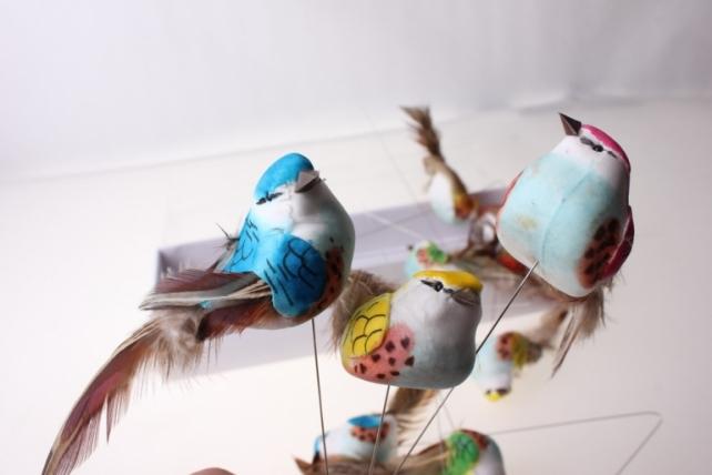 бабочки и птички декоративная искусственная флористическая - 6155 птичка цветная круглая на стикере (12шт в уп) 2512