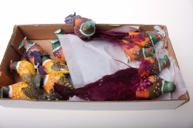 бабочки и птички декоративная искусственная флористическая - 6179 птичка средняя фазан на прищепке (12 штук в упаковке) 2286