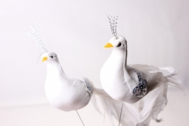 бабочки и птички декоративная искусственная флористическая - 6605 птичка голуби на стикере (12шт в уп) 3019