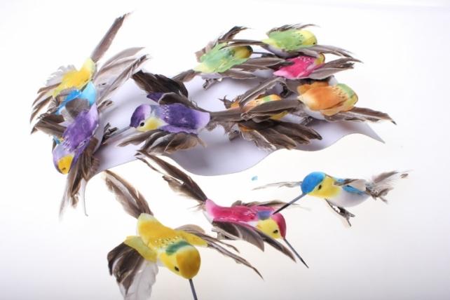 бабочки и птички декоративная искусственная флористическая - 9668 птичка колибри на прищепке (12шт) 2483