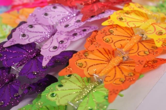 Декоративная искусственная флористическая - Бабочка 8см на прищепке (12 шт.) цвета в ассортименте