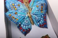 Декоративная искусственная флористическая - Бабочка на стикере 10 см   (24 шт.)